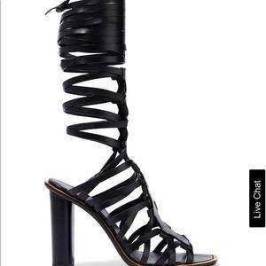 NWT Altuzarra Cutout leather sandals black Sz 36